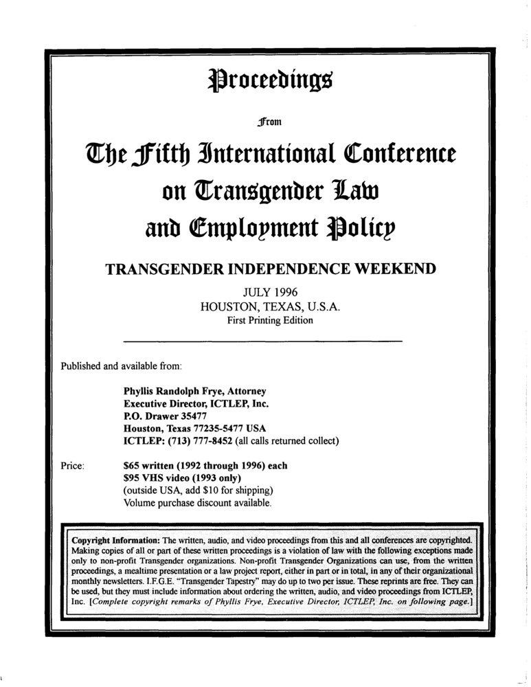 Download the full-sized PDF of Proceedings from the Fifth International Conference on Transgender Law and Employment Policy