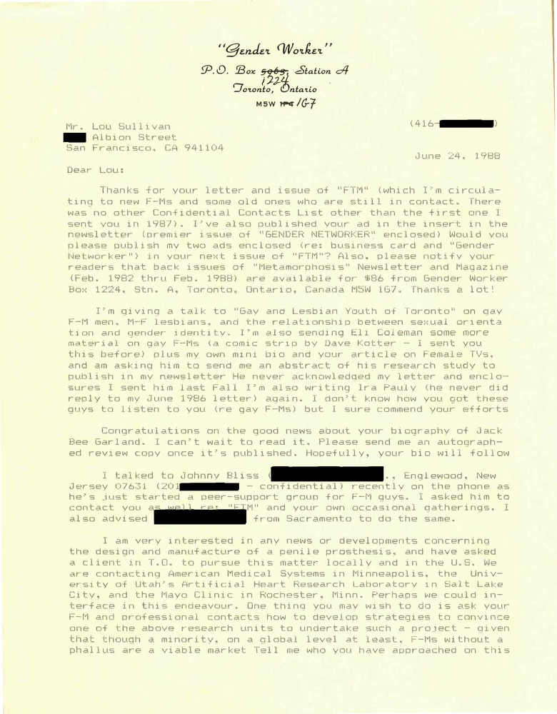 Download the full-sized PDF of Correspondence from Rupert Raj to Lou Sullivan (June 24, 1988)