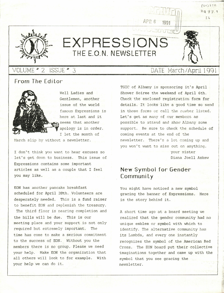 Download the full-sized PDF of Expressions: The EON Newsletter Vol. 2 Issue 3 (March/April, 1991)