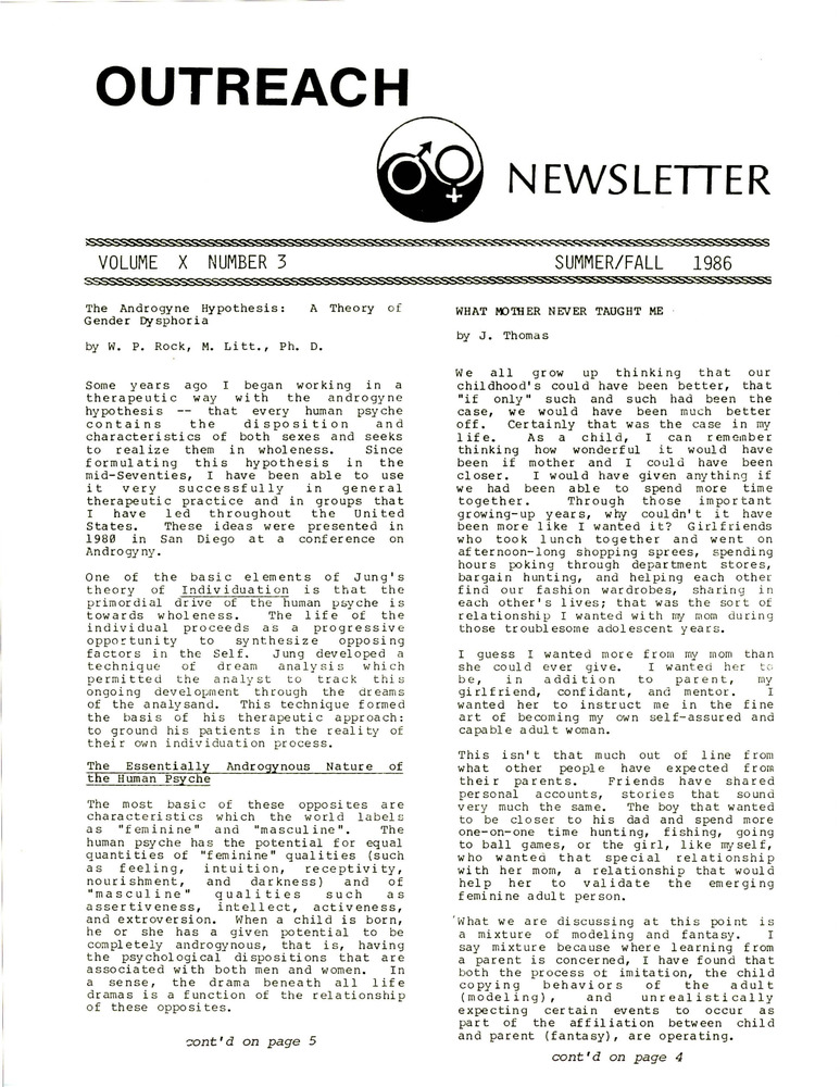 Download the full-sized PDF of Outreach Newsletter Vol. 10 No. 3 (Summer/Fall 1986)
