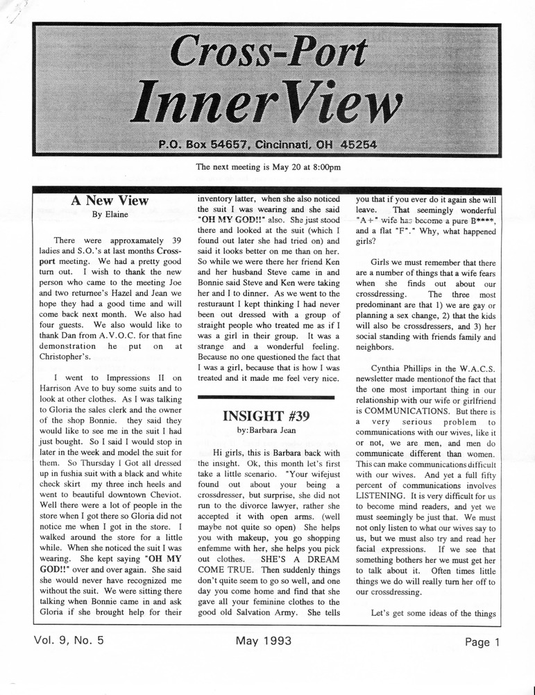 Download the full-sized PDF of Cross-Port InnerView, Vol. 9 No. 5 (May, 1993)