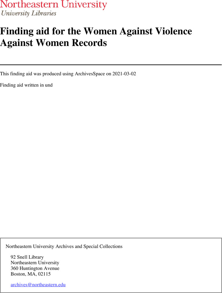 Download the full-sized image of Finding aid for the Women Against Violence Against Women Records