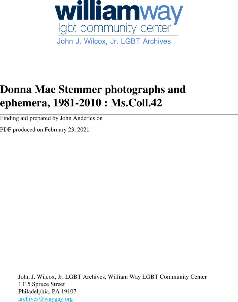 Download the full-sized PDF of Donna Mae Stemmer photographs and ephemera, 1989-2010 : Ms.Coll.42