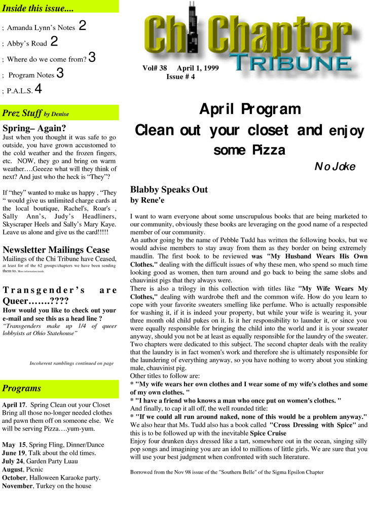 Download the full-sized PDF of Chi Chapter Tribune Vol. 38 Iss. 04 (April, 1999)
