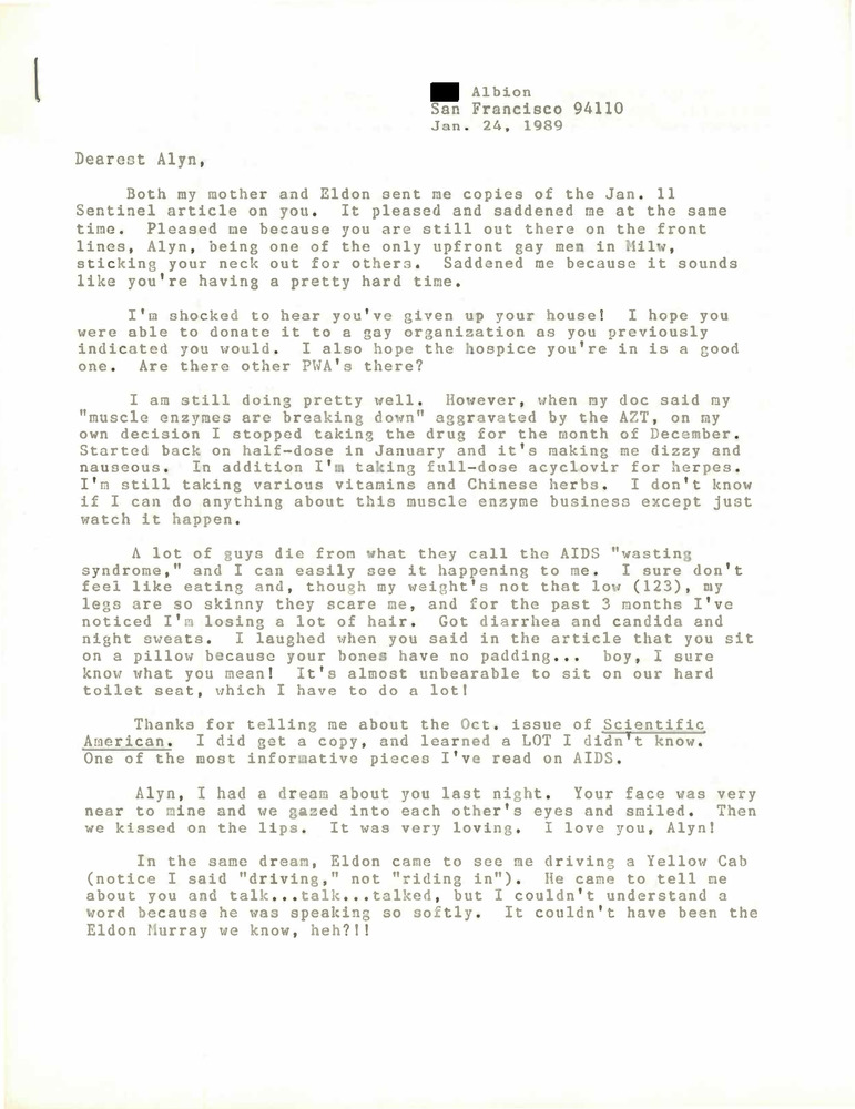 Download the full-sized PDF of Correspondence from Lou Sullivan to Alyn Hess (January 24, 1989)