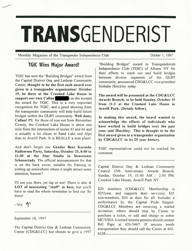 Download the full-sized PDF of The Transgenderist (October 1, 1997)