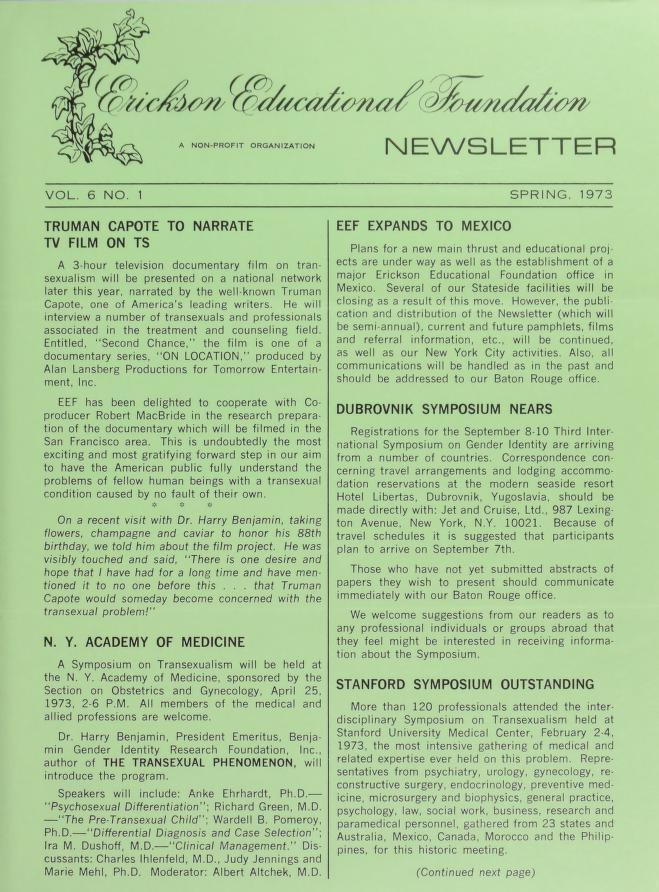 Download the full-sized image of Erickson Educational Foundation Newsletter, Vol. 6 No. 1 (Spring, 1973)