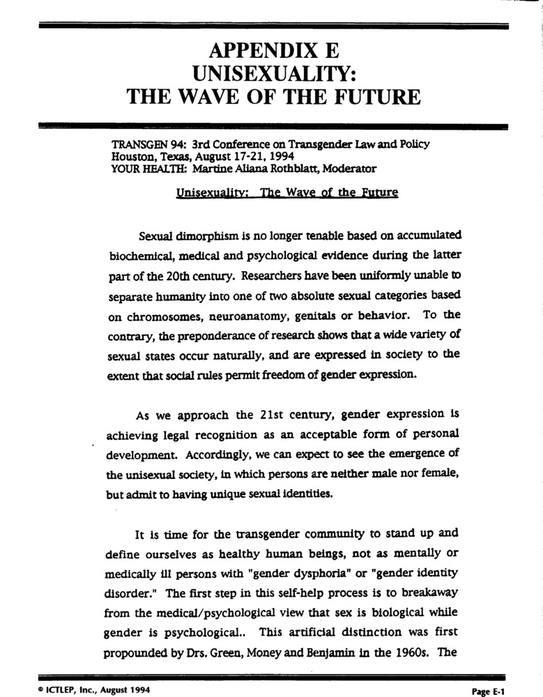 Download the full-sized PDF of Appendix E: Unisexuality: The Wave of the Future