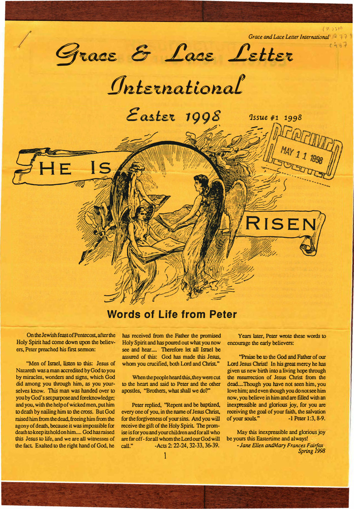 Download the full-sized PDF of Grace and Lace Letter International Issue No. 1 (April 12, 1998)