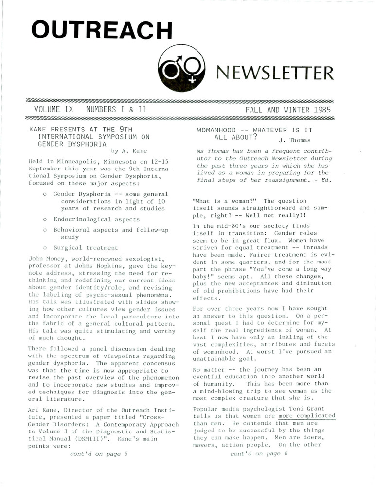 Download the full-sized PDF of Outreach Newsletter Vol. 9 Nos. 1 & 2 (Fall/Winter 1985)