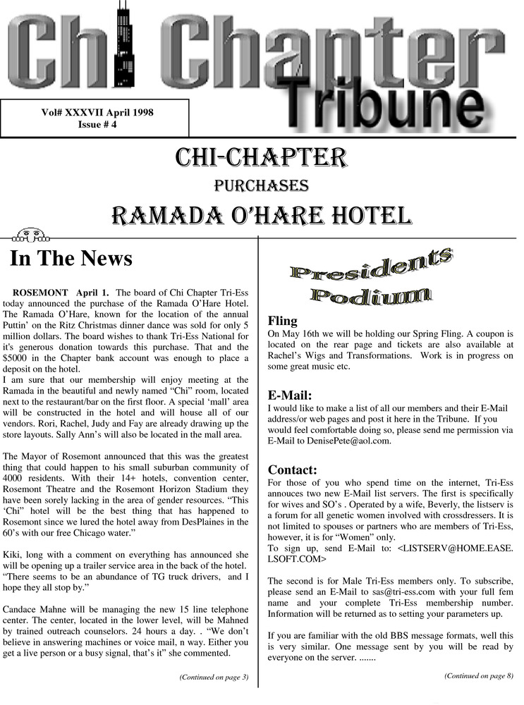 Download the full-sized PDF of Chi Chapter Tribune Vol. 37 Iss. 04 (April, 1998)