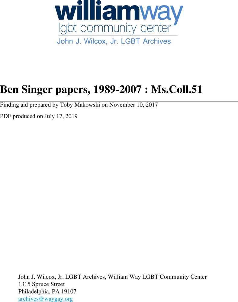 Download the full-sized PDF of Ben Singer papers, 1989-2007 : Ms.Coll.51