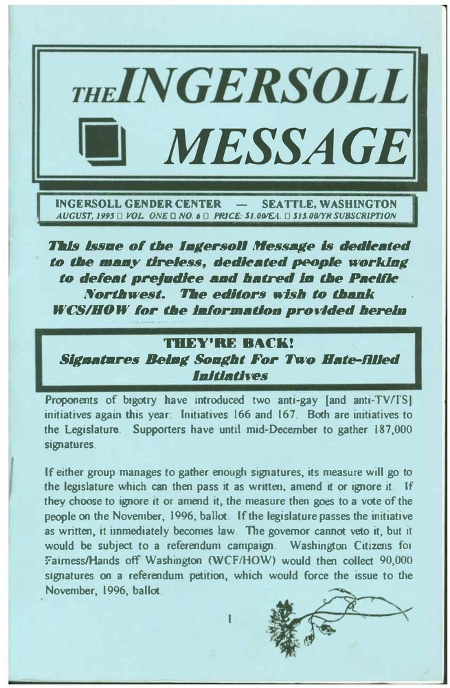 Download the full-sized PDF of The Ingersoll Message, Vol. 1 No.6 (August, 1995)