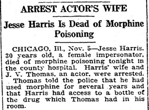 Download the full-sized image of Arrest Actor's Wife: Jesse Harris Is Dead of Morphine Poisoning