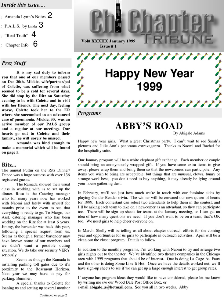 Download the full-sized PDF of Chi Chapter Tribune Vol. 38 No. 01 (January, 1999)