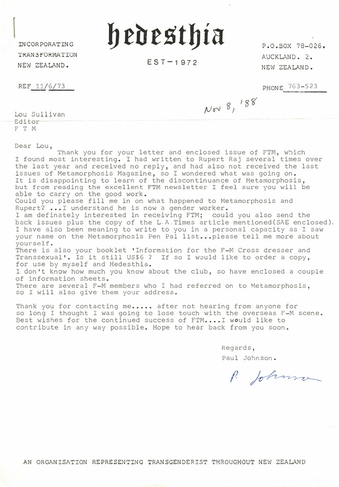 Download the full-sized PDF of Correspondence from Paul Johnson to Lou Sullivan (November 8, 1988)