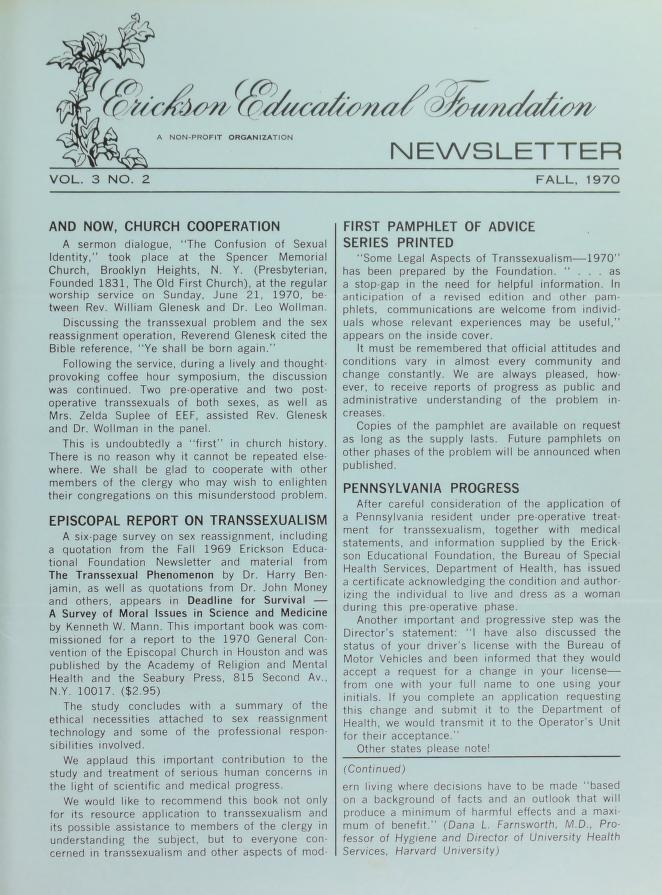 Download the full-sized image of Erickson Educational Foundation Newsletter, Vol. 3 No. 2 (Fall, 1970)