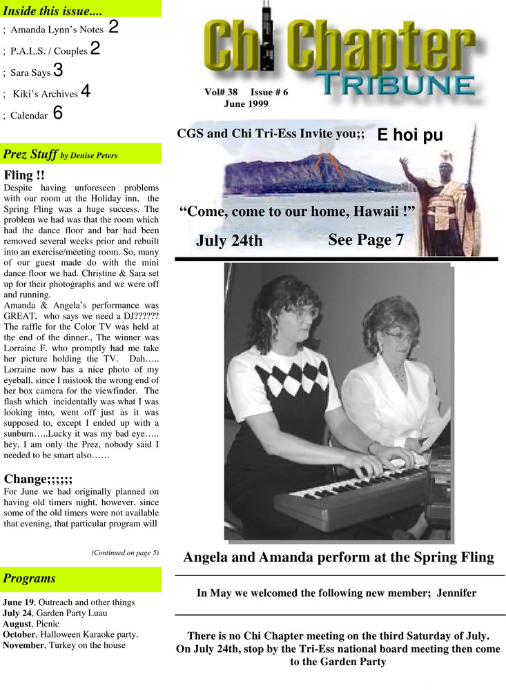 Download the full-sized PDF of Chi Chapter Tribune Vol. 38 Iss. 06 (June, 1999)