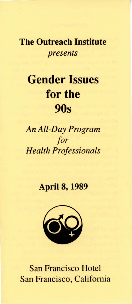 Download the full-sized PDF of Brochure for Gender Issues for the 90s: An All-Day Program for Health Professionals (Apr. 8, 1989)