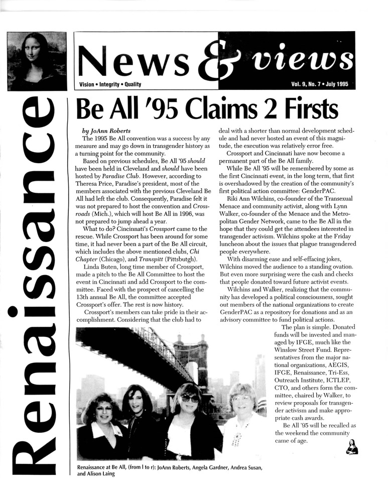 Download the full-sized PDF of Renaissance News & Views, Vol. 9 No. 7 (July 1995)
