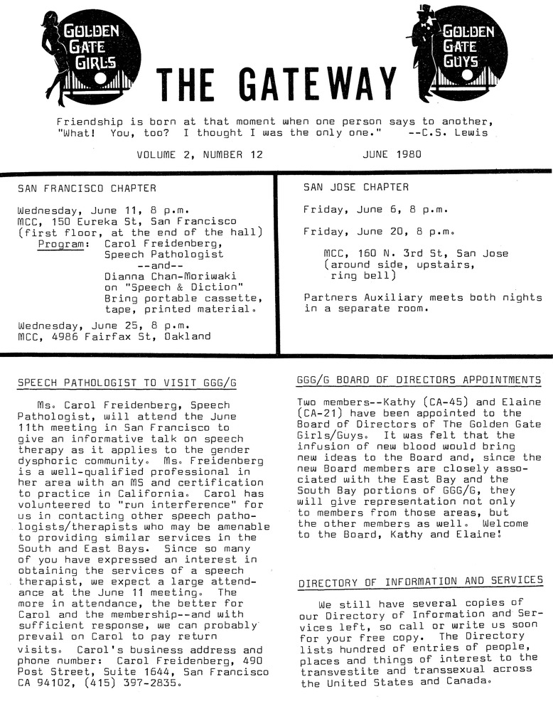 Download the full-sized PDF of The Gateway Vol. 2 No. 12 (June, 1980)