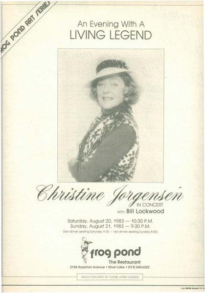 Download the full-sized image of An Evening with a Living Legend: Christine Jorgensen