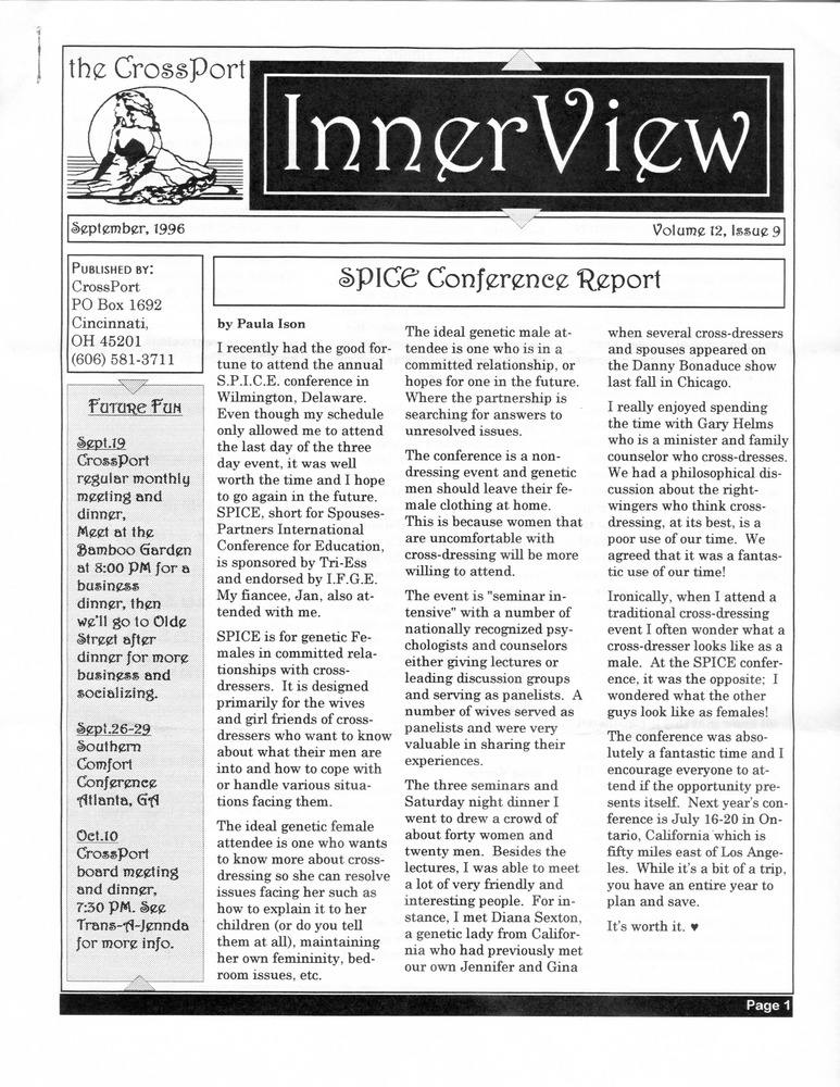Download the full-sized PDF of Cross-Port InnerView, Vol. 12 No. 9 (September, 1996)