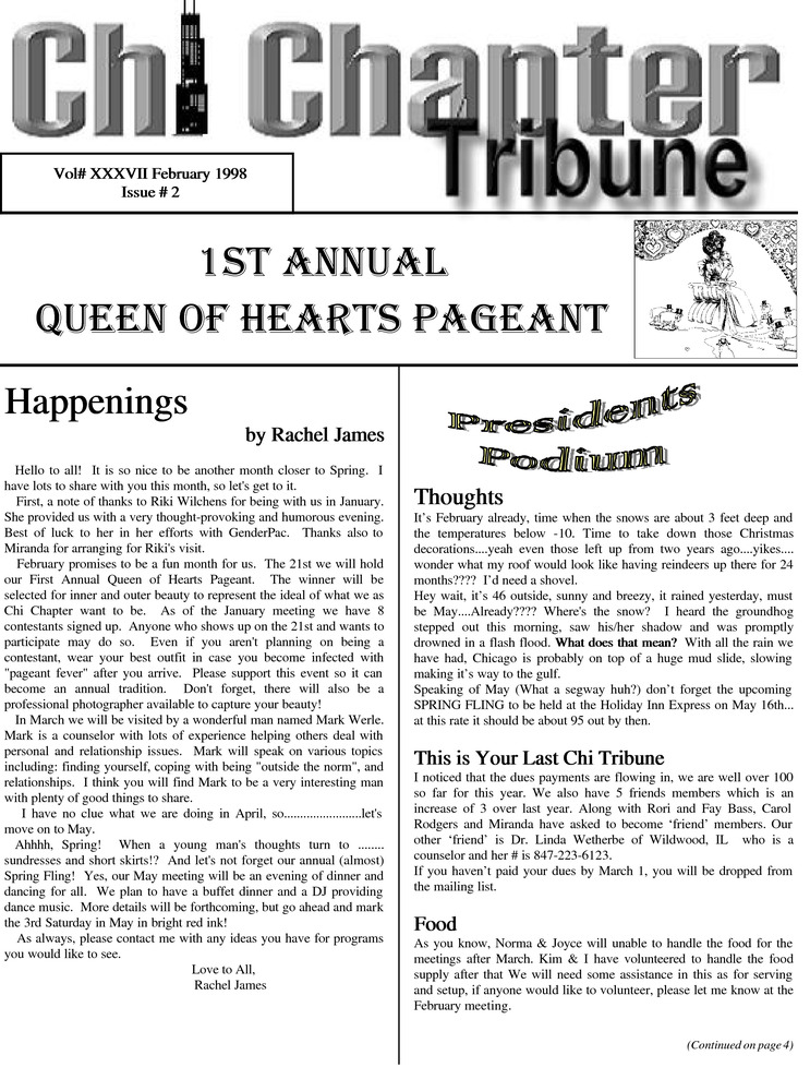 Download the full-sized PDF of Chi Chapter Tribune Vol. 37 Iss. 02 (February, 1998)