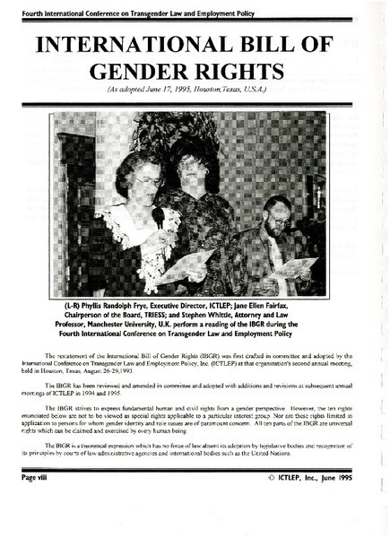 Download the full-sized image of Proceedings from the International Conference on Transgender Law and Employment Policy (June, 1995)