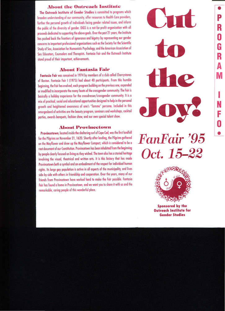 Download the full-sized PDF of Cut to the Joy! FanFair (Oct. 15 - 22, 1995)