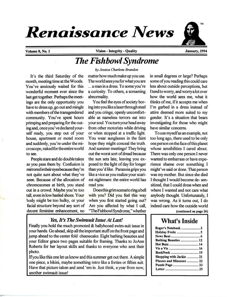 Download the full-sized PDF of Renaissance News, Vol. 8 No. 1 (January 1994)