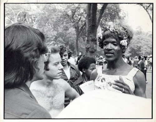 Download the full-sized image of Marsha P. Johnson at the Christopher Street Liberation Day March, 1974