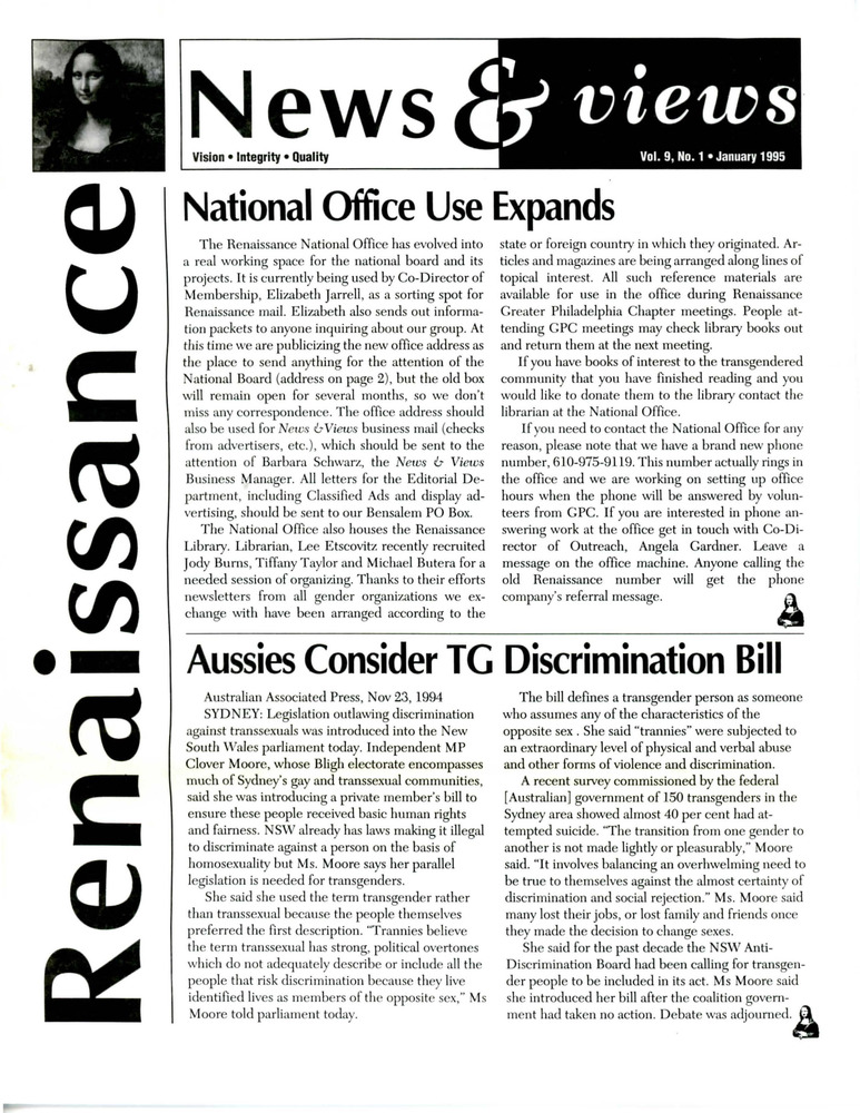 Download the full-sized PDF of Renaissance News & Views, Vol. 9 No. 1 (January 1995)