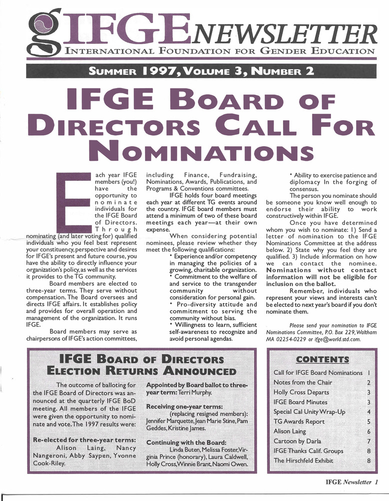Download the full-sized PDF of IFGE Newsletter Vol. 3 No. 2 (Summer, 1997)