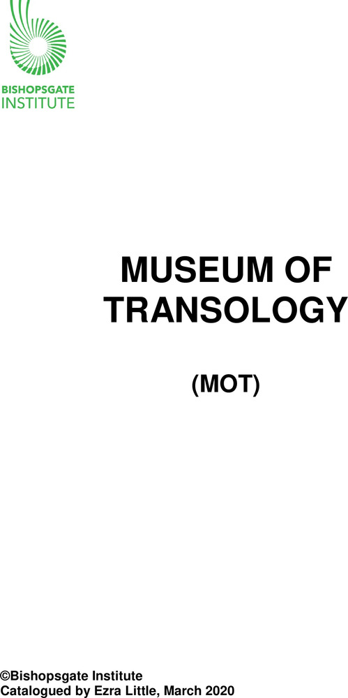 Download the full-sized PDF of Museum of Transology (MOT) Catalogue