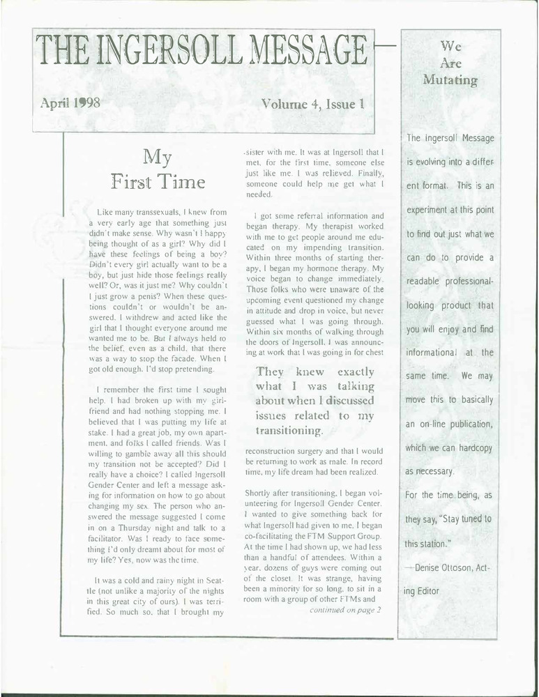 Download the full-sized PDF of The Ingersoll Message, Vol. 4 No. 1 (April, 1998)