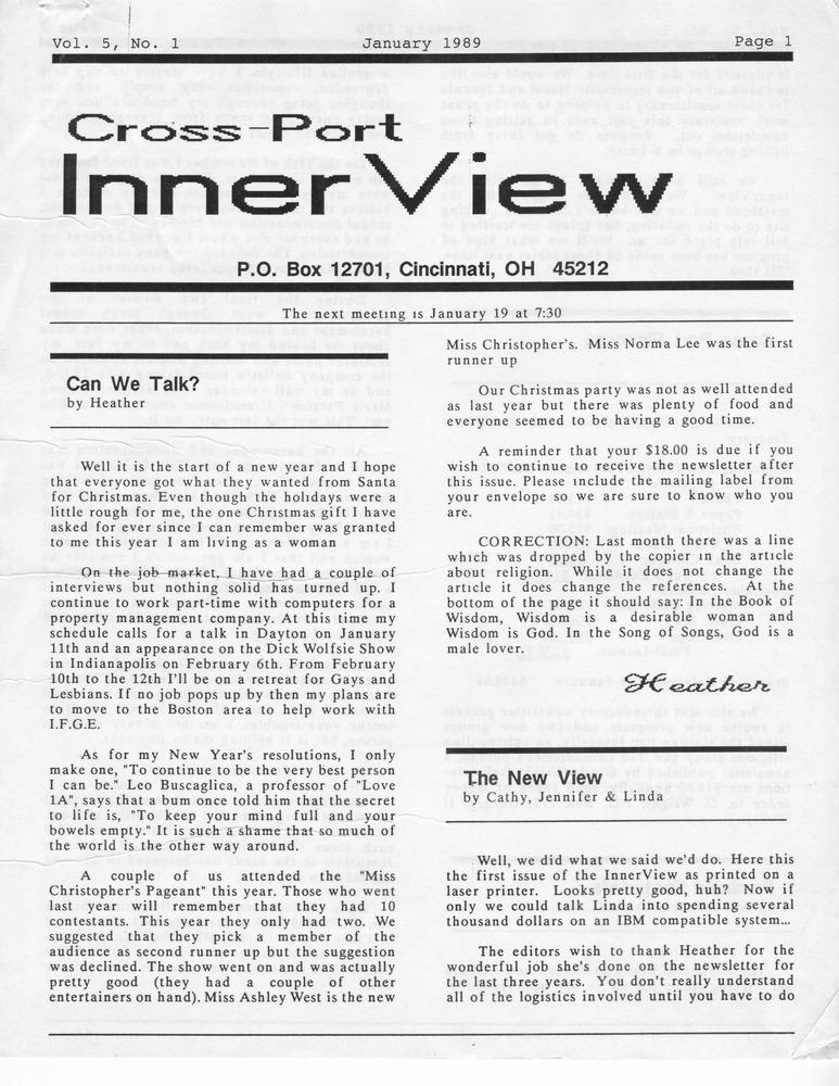 Download the full-sized PDF of Cross-Port InnerView, Vol. 5 No. 1 (January, 1989)