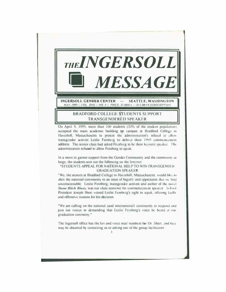 Download the full-sized PDF of The Ingersoll Message, Vol. 1 No. 3 (May, 1995)