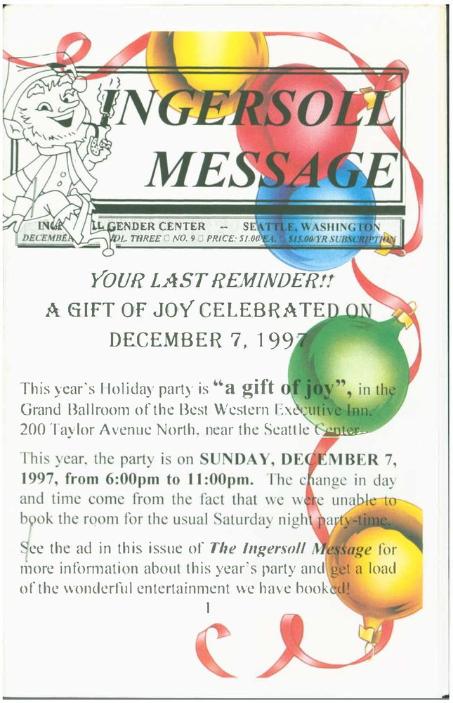 Download the full-sized PDF of The Ingersoll Message, Vol. 3 No. 9 (December, 1997)