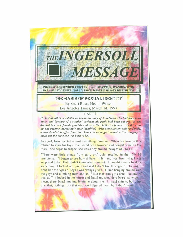 Download the full-sized PDF of The Ingersoll Message, Vol. 3 No.2 (May, 1997)