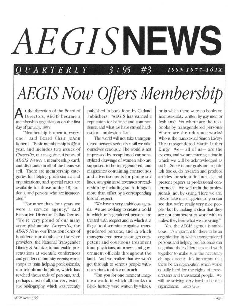 Download the full-sized PDF of AEGIS News, No. 3 (March, 1995)