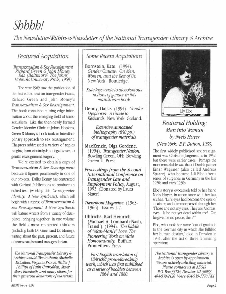 Download the full-sized PDF of Shhhh!: The Newsletter-Within-a-Newsletter of the National Transgender Library & Archive Vol. 1 No. 2 (September, 1994)
