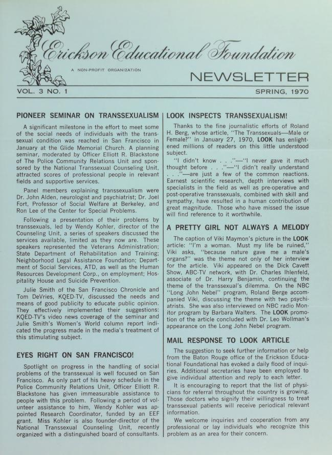 Download the full-sized image of Erickson Educational Foundation Newsletter, Vol. 3 No. 1 (Spring, 1970)