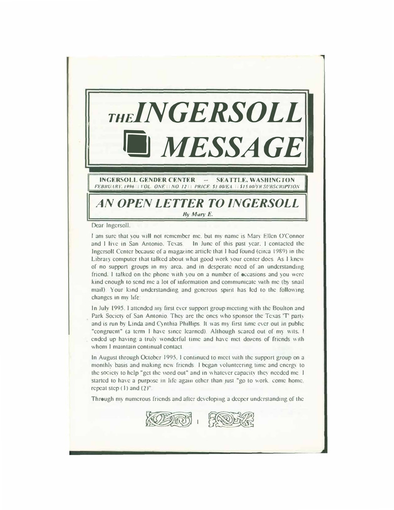 Download the full-sized PDF of The Ingersoll Message, Vol. 1 No. 12 (February, 1996)