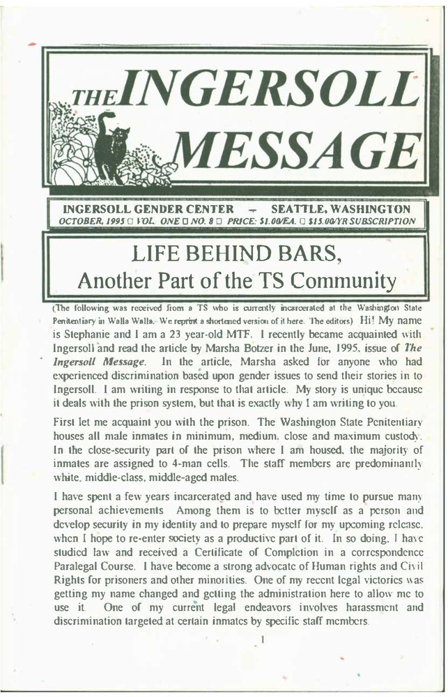 Download the full-sized PDF of The Ingersoll Message, Vol. 1 No. 8 (October, 1995)
