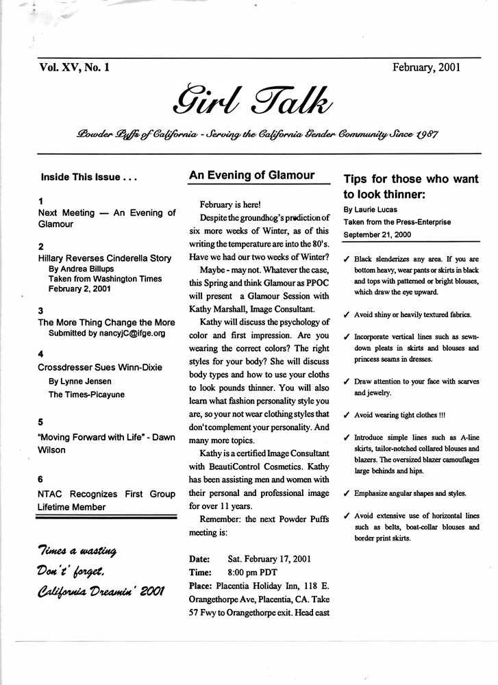 Download the full-sized PDF of Girl Talk, Vol. 15 No. 1 (February, 2001)
