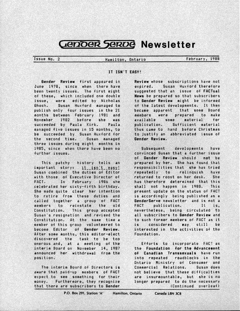 Download the full-sized PDF of GenderServe Newsletter Issue No. 2 (Winter 1988)
