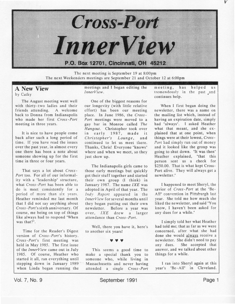 Download the full-sized PDF of Cross-Port InnerView, Vol. 7 No. 9 (September, 1991)