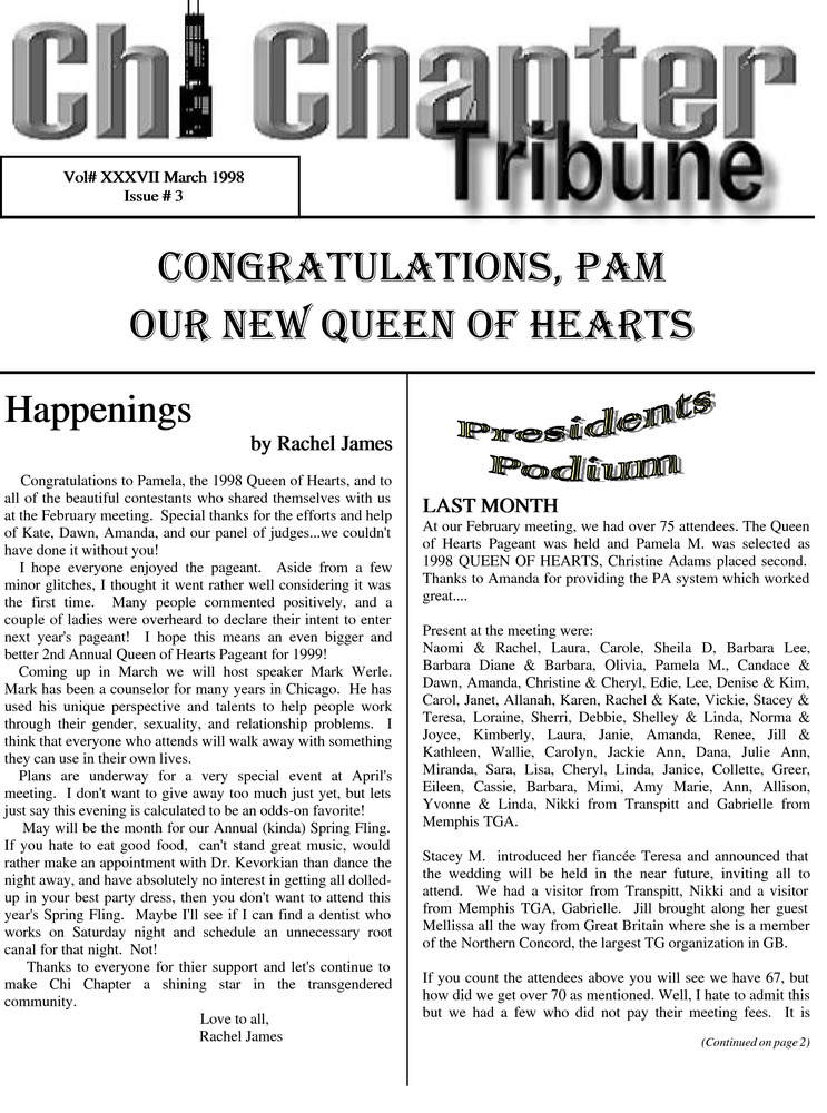 Download the full-sized PDF of Chi Chapter Tribune Vol. 37 Iss. 03 (March, 1998)