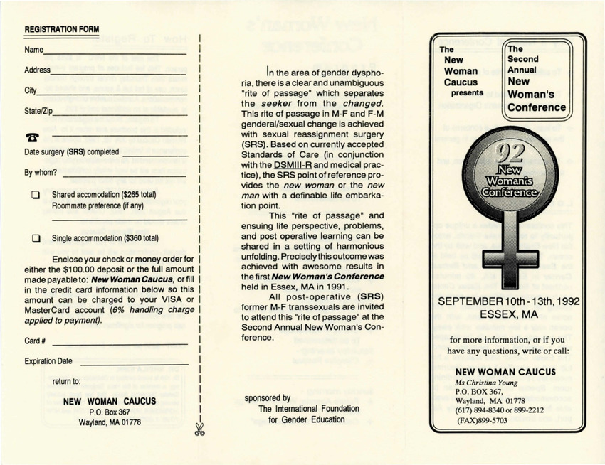 Download the full-sized PDF of Brochure for the Second Annual New Women's Conference (Sept. 10-13, 1992)